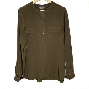 Vince Olive green silk blouse